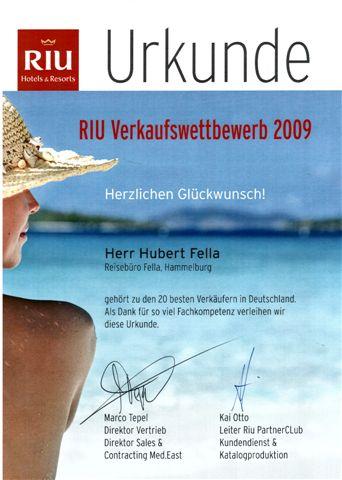 HubertFellaReisebueroFella10besterRIUVerkaeufer2009